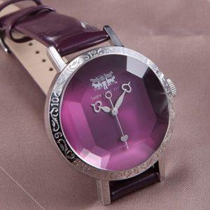 Часы с органическим стеклом фиолетовые