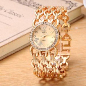 Часы с браслетом сеткой золотистые