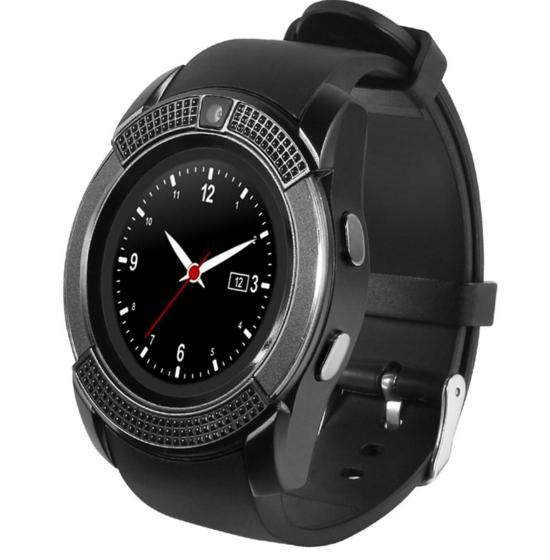 Умные смарт часы круглые A8 V8 черные